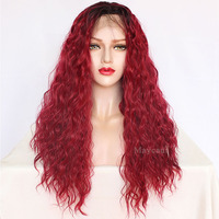 Maycaur Long Curly Synthetic Lace Front Wigs Black Red Grey/Brown Ombre Color Glueless Wigs with Baby Hair for Black Women