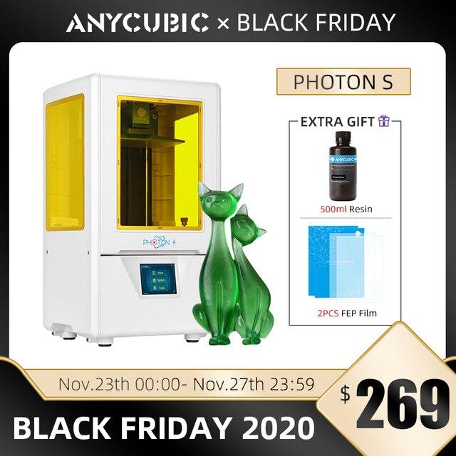 Anycubic פוטון S SLA 3d מדפסת DIY UV שרף 3d מדפסת ערכת שיניים כפולה Z ציר לייזר מבצע impresora 3d drukarka 3d Jewerly