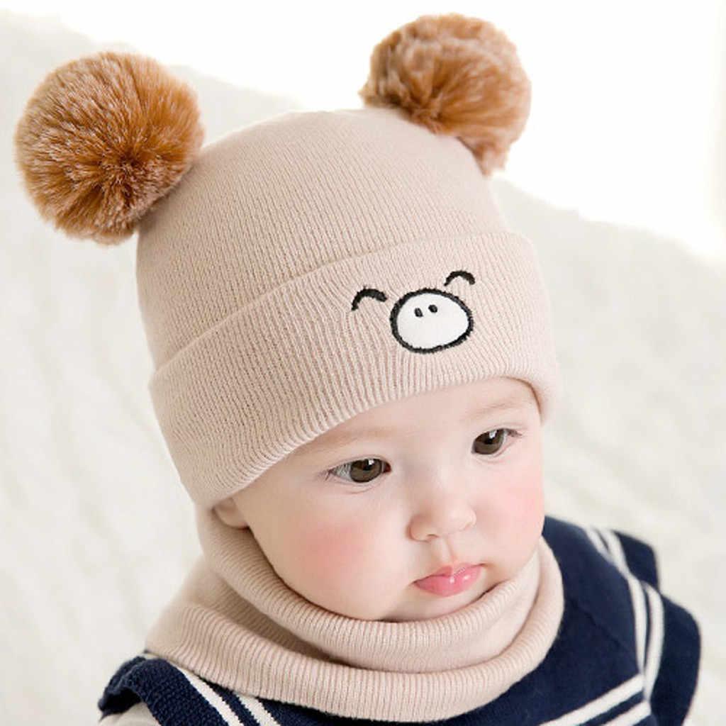 תינוק קריקטורה דוב אוזן אוזן ילד ילדה ילדים יפה רך כובע + צעיף שתי חתיכה סט תינוק חורף כובע תינוק כובע תינוק אבזרי צילום