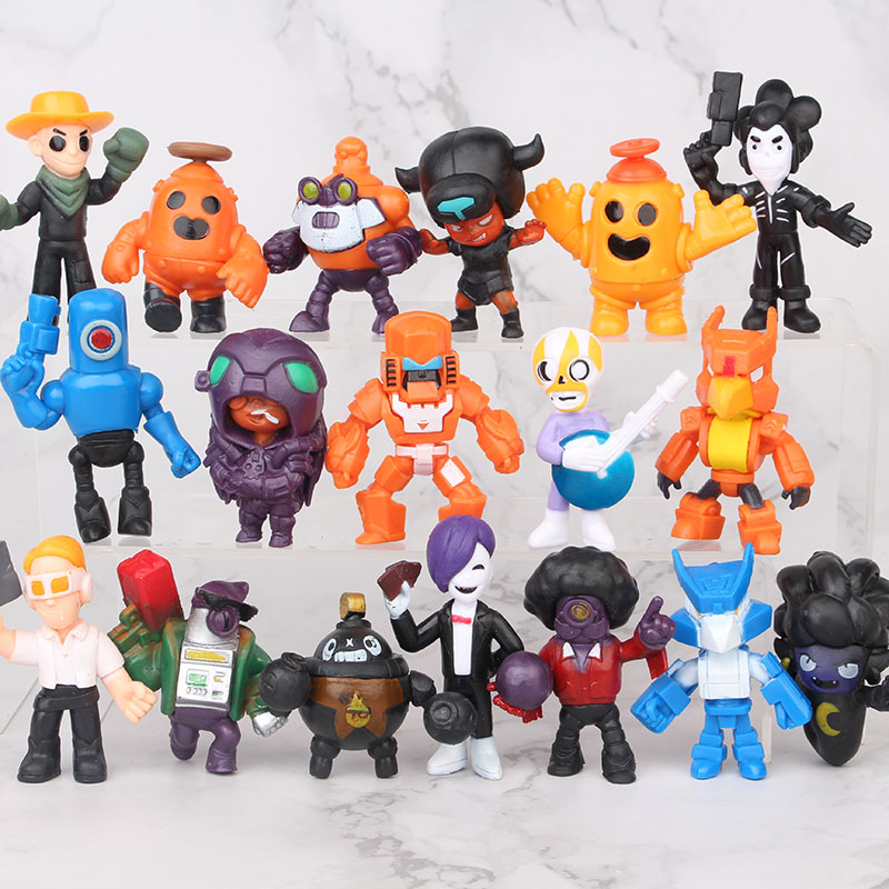 18pcs/lot Brawl Stars Game Cartoon Hero Figure Model Spike Shelly Leon PRIMO MORTIS Doll Kawaii Cute Toy Gift For Boy Girl Kids