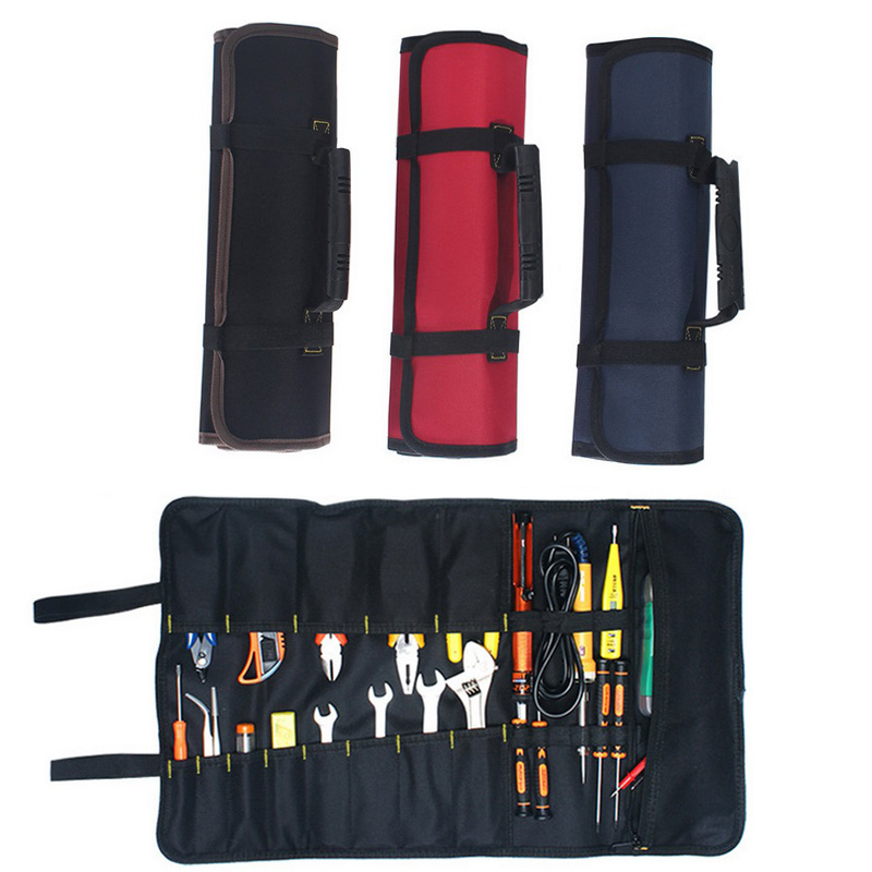 Multifunction Roller Tool Bags Oxford Canvas Practical Handles Bags Chisel Electrician Carrying Toolkit Instrument Package Case