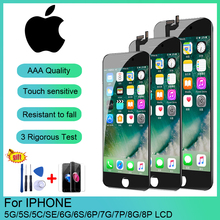 цена на AAA+++LCD Display For iPhone 5 5C 5S SE Touch Screen Replacement For iPhone 6 7 8 6S Plus HD Screen+Tempered Glass+Tools