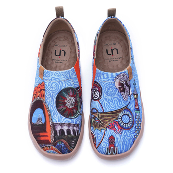UIN Men's Canvas Fashion Sneaker Comfortable Walking Travel Painted Slip Ons Loafers