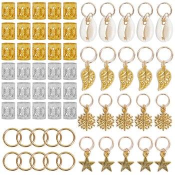 80pcs Gold Hair Braid Dreadlocks Beads Leaf Star Diy Clip Cuffs Dread Tube Charm Dreadlock Accessaries - discount item  22% OFF Hair Tools & Accessories