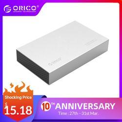 HDD ORICO Ốp Lưng Loại C Nhôm Sata To USB C SSD 3.5 Inch/SATA Hộp Ổ Cứng Lưu Trữ USB3.1 SATA 3 Với Nguồn 12V