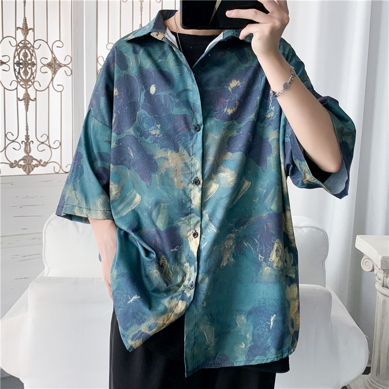 Men's Shirt 2020 Summer New Slim Solid Color Ice Screen Printed Short Sleeve Shirt Casual Casual Personality Youth Men's Wear