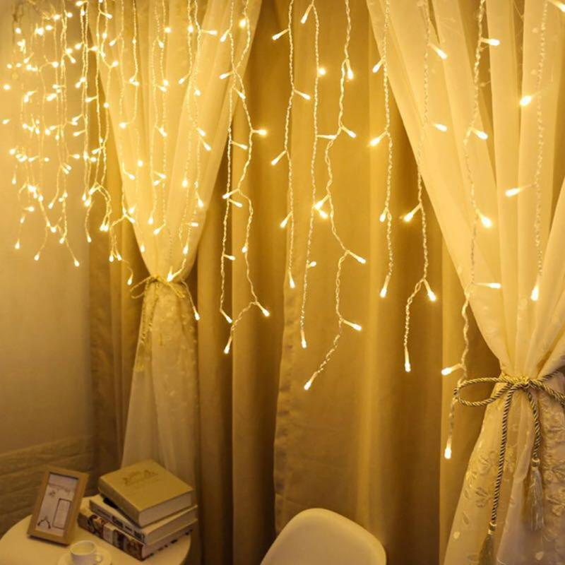 Garland Xmas 96LED Curtain Icicle Lamp String Fairy Light For Outdoor Decor