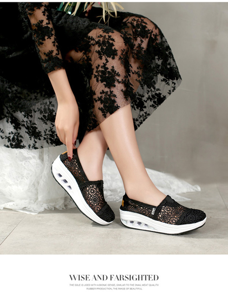 New Spring Summer Hollow Canvas Shoes Women Fashion Lace Slip on Shoes for Women Breathable Platform Shoes 2020 VT750 (4)