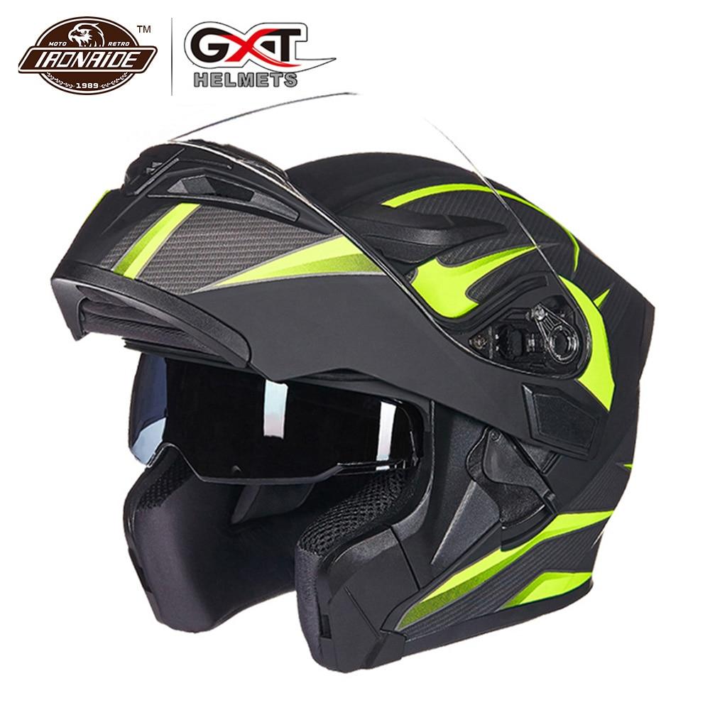 GXT nouveau Casque de Moto Flip up Casque de Motocross Capacete da Motocicleta Cascos Moto Casque Doublel lens course Casque d'équitation #