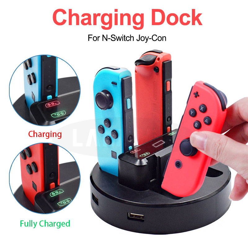 New Four-in-one Charger 4 Handle Seat Charger Handle Cradle Game Console Charging For Nintendo Switch Joy-con