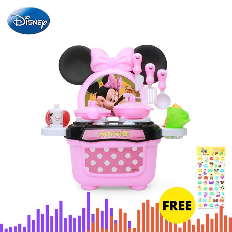 Disney Kitchen Set Toys Minnie Model Diy Kitchenware Girls Xmas Juguete Birthday Gifts Educational Pretend Play Toys For Kids