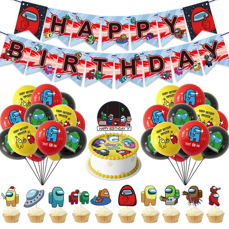 Furnite Among USS Birthday Party Supply with Stickers Decoration Game Happy Birthday Banner Balloon Cup Cake Topper for Boys Girls Kids Adults Party Decorations
