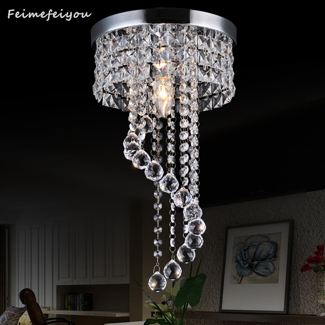 $ US $35.68 LED Crystal ceiling light Chrome Flush Mount Fixture with Raindrop Crystals, Modern Ceiling Lighting