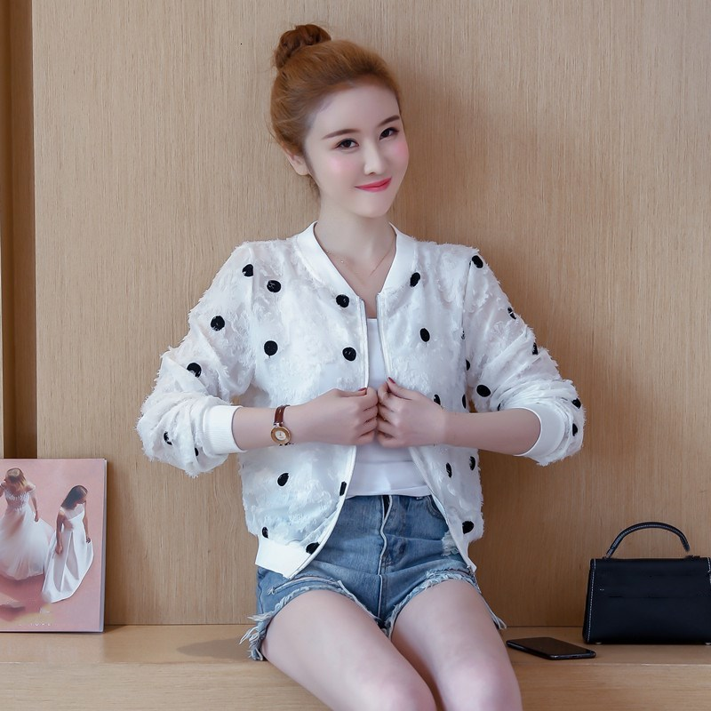 2019 Korean Slim Baseball Short Jacket Summer Casual White Thin Women's Bomber Jacket Polka Dot Dot Sunscreen Cardigan Jacket 23