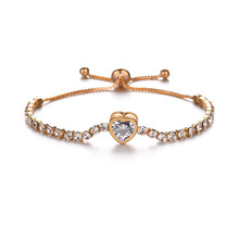 Fashion Heart Bracelet For Women Rose Gold Silver Color Cubic Zirconia Charm Bracelets & Bangles Femme Wedding Jewelry shdede cubic zirconia elegant charm bracelets for women bride wedding fashion jewelry heart valentine s day gift whe262