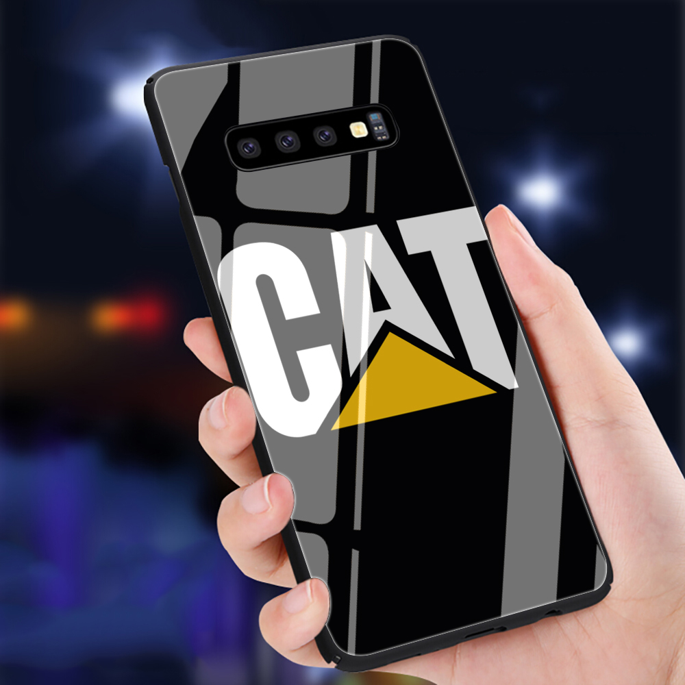 Caterpillar logo Tempered Glass Phone Case for Samsung S7 S8 S9 S10 Note 8 9 10 plus A10 20 <font><b>30</b></font> <font><b>40</b></font> <font><b>50</b></font> <font><b>60</b></font> <font><b>70</b></font> image
