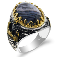 Men Rings Agate-Stone Turkish 925-Sterling-Silver Constantinople Vintage Track Oval Castle