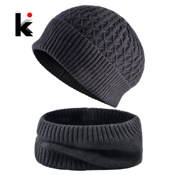 Warm Hat Sets For Men Winter Knitted Beanie And Scarf Set Thick Knitting Solid Color Skullies Bonnet Double Layer Add Velvet Cap 1