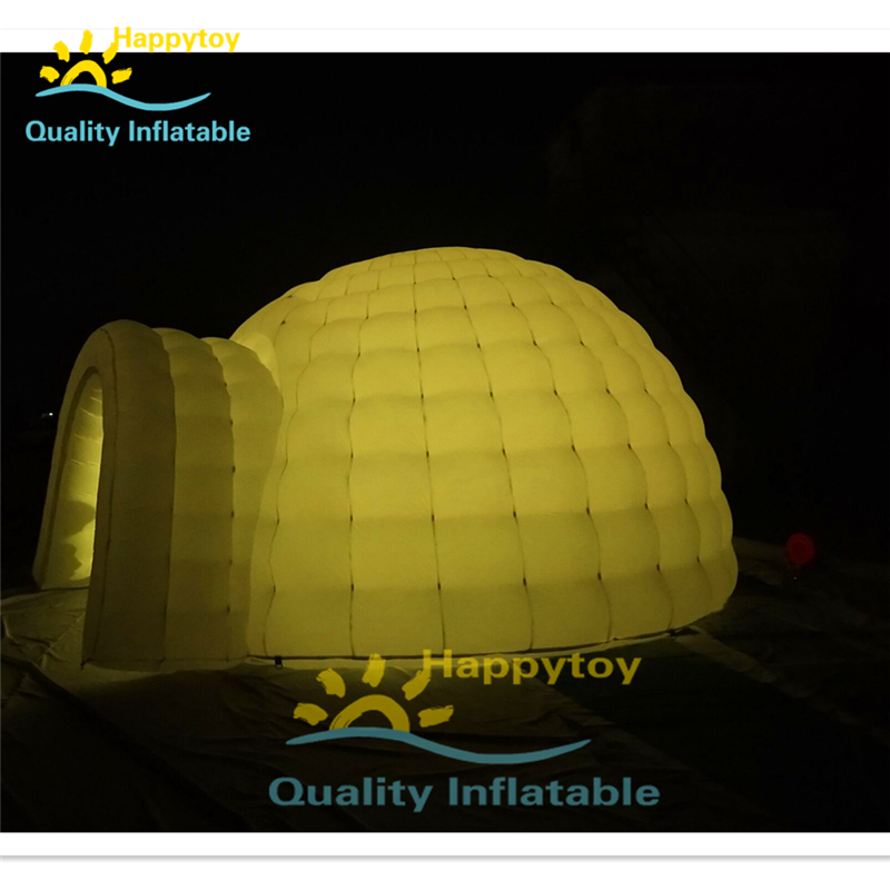 Hot Sale Outdoor White Inflatable Igloo With Led Inflatable Tent Lighting Inflate Dome Tent