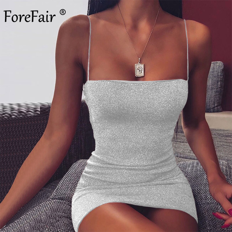 Forefair Glitter Mini Spaghetti Strap Sexy Dress Party Summer Off Shoulder Sparkle Night Club Red White Bodycon Dress Women