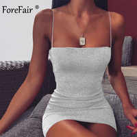 Forefair Glitter Mini Spaghetti Strap Sexy Kleid Party Sommer Off Schulter Sparkle Nacht Club Rot Weiß Bodycon Kleid Frauen