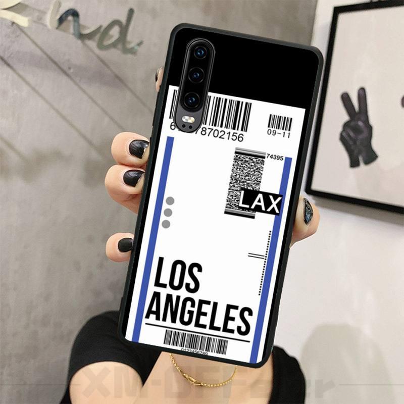 OFFeier Travel ticket Soft black Phone Case For Huawei P8 lite 2017 P9 P10 20Pro Lite Pro P30lite P Smart 2019