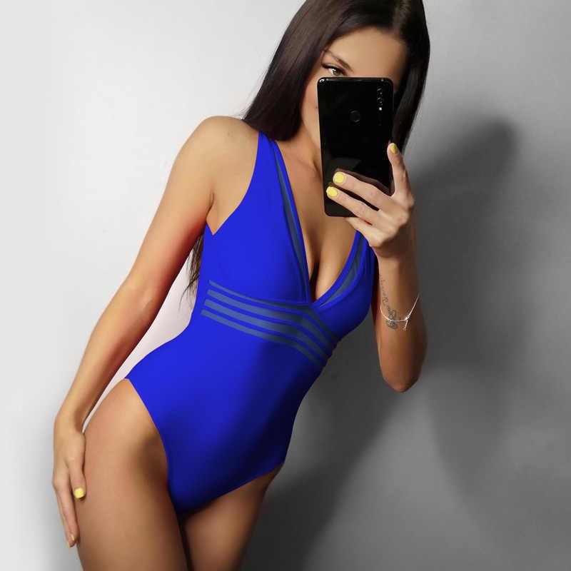 Riseado, сексуальный, сетчатый, погружающийся, сдельный Купальник для женщин, 2019, купальник для женщин, монокини, купальники для женщин, Одноцветный, u-образный, пляжная одежда