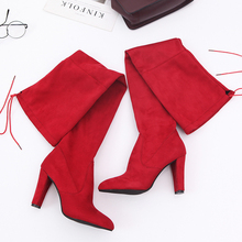 women winter boots stretch fabric fashion high heels women s boots elegant over the knee long boots winter boots Sexy High Heels Boots Over The Knee Women Stretch Fashion Black Gray Red Boots 2019 New Winter Boots Women Ins Hot Boots Rubber