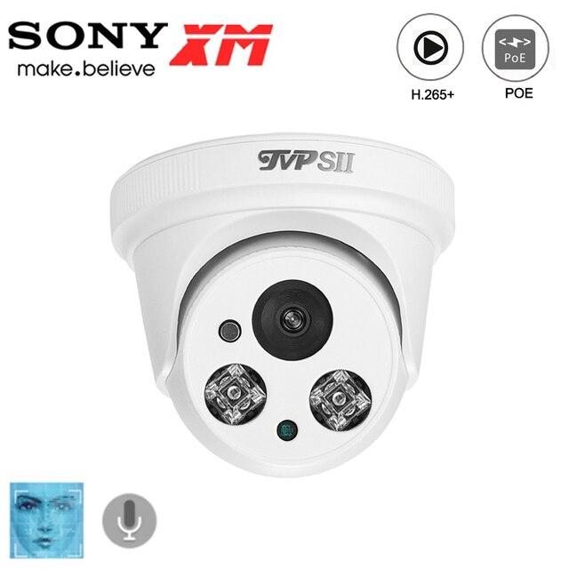Deux led infrarouges en plastique 8mp 4K,5mp,3mp,2mp H.265 + caméra de vidéosurveillance IP POE de dôme de sécurité de détection de visage donvif Audio dintérieur