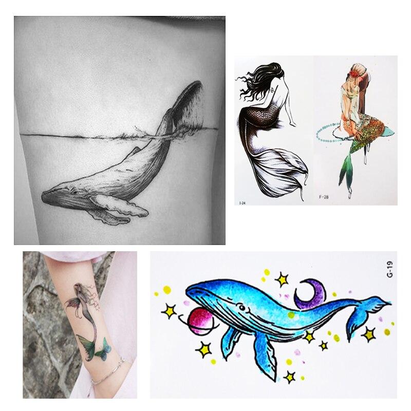 Waterproof Temporary Tattoos  Dolphin Mermaid Flamingo Sleeve Arm Sexy Tattoo Body Art Sticker For Men Women Loyal Love Romantic