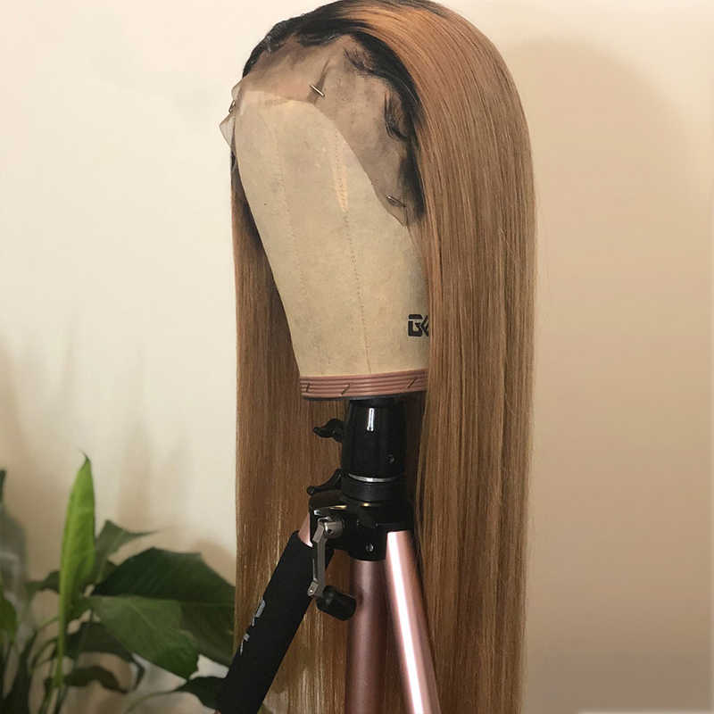 Ombre Lace Front Human Hair Wigs Brazilian Straight Blonde Wig For Black Women 130% Human Remy Hair 13*4 Glueless Pre Plucked
