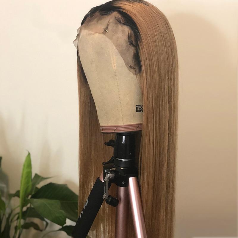Ombre Spitze Vorne Menschenhaar Perücken Brasilianische Gerade Blonde Perücke Für Schwarze Frauen 130% Menschliches Remy Haar 13*4 glueless Pre Gezupft