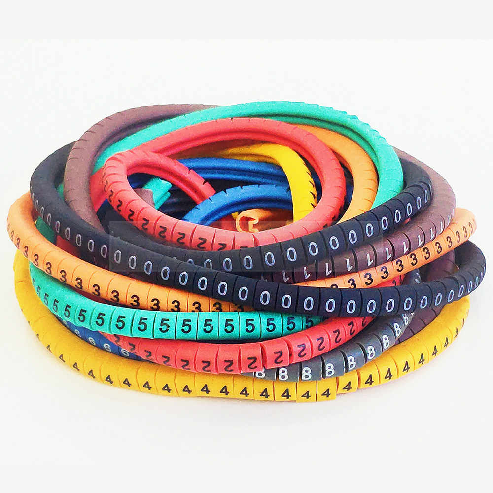 500PCS EC-0 Cable Wire Marker 0 To 9 Number Colored Marking Tool For 1.5mm2 Size