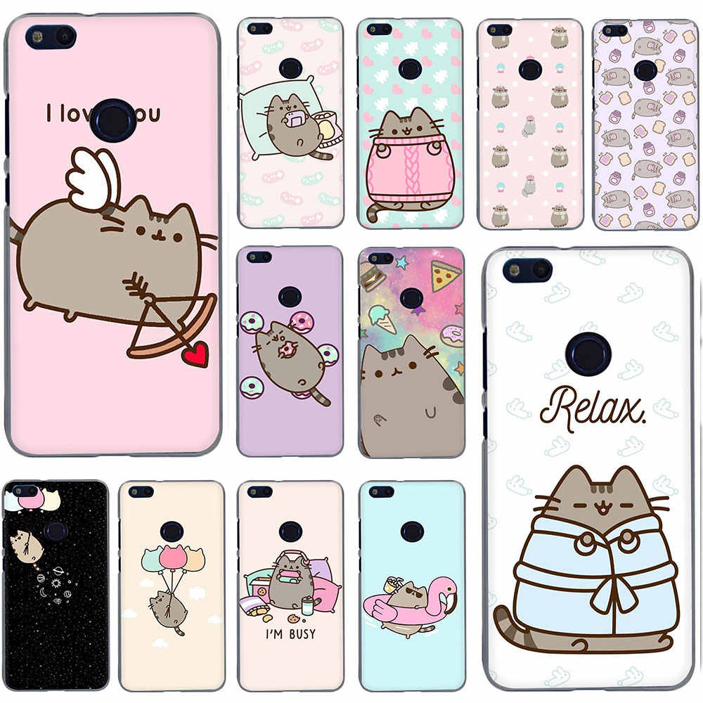 Cute Pusheen Cat Cartoon Hard Phone Cover Case for Huawei Honor 6A 6C Pro 7A 2GB 3GB Pro 7 8 C X 9 10 Lite Play