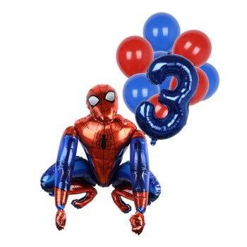 1set 3D Big Spider Supper Hero Man Mylar Foil Balloon Number Foil Balloons Birthday Party Decoration Supplies Children's Gifts 11