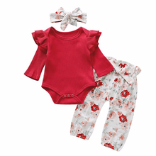 3Pcs Newborn Baby Girls Clothes Set for Infant Kids Clothing Outfits 2020 New Boys Pure Cotton Print Romper+Pant+Headband Suit levi s baby boys newborn coulter pant