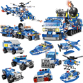 780 шт. 8in1 город Police грузовики строительные блоки полицейский автомобиль RC Вертолет Лодка Модель Кирпичи игрушки для детей строительные игру...