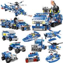 780 pçs 8in1 cidade polícia comando caminhões blocos de construção policial carro helicóptero barco modelo tijolos brinquedos para crianças brinquedo construção