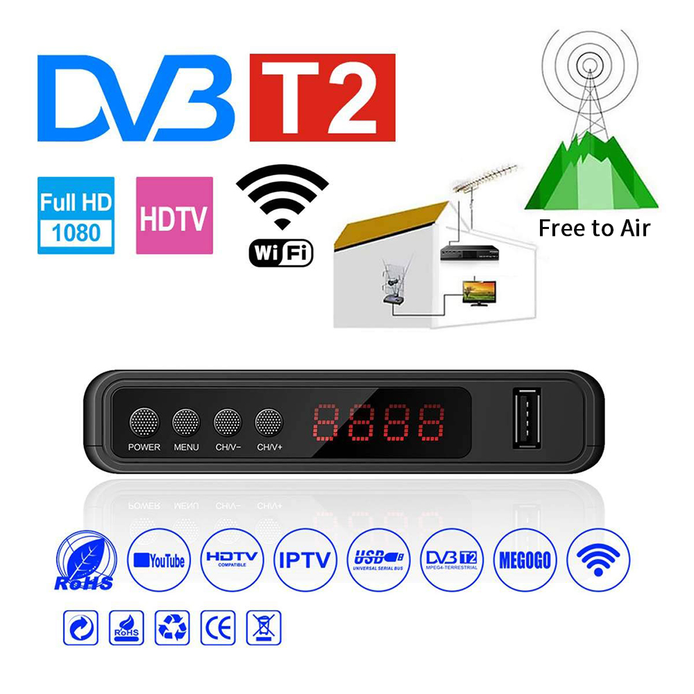 Tuner Set-Top-Box Wifi-Receiver Receptor TDT DVB-C FTA Vga Digital Tv Dvb T2 H.264  title=