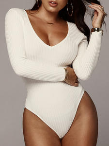 Bodysuit Women Ribbed Knitted Low-Cut Long-Sleeve Black Female White Sexy Autumn V-Neck