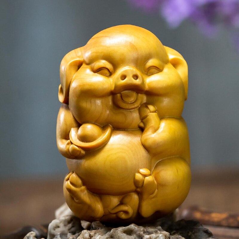 6CM Rich Pig Boxwood Feng Shui Cute Piggy Zodiac Animal Sculpture Mascot Wood Statue Home Decor