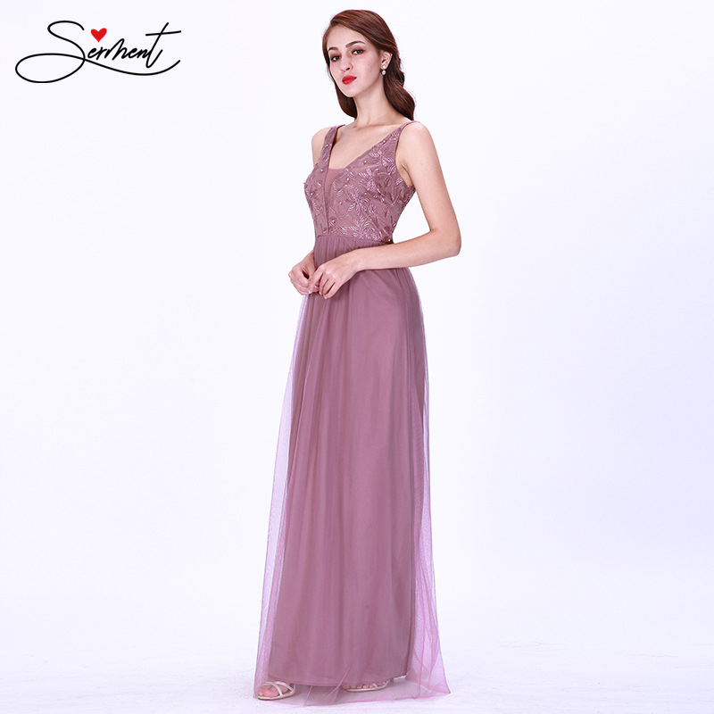 OLLYMURS New Elegant Woman Evening Gown Sleeveless Simple V-neck Mesh Gown Suitable For Formal Parties