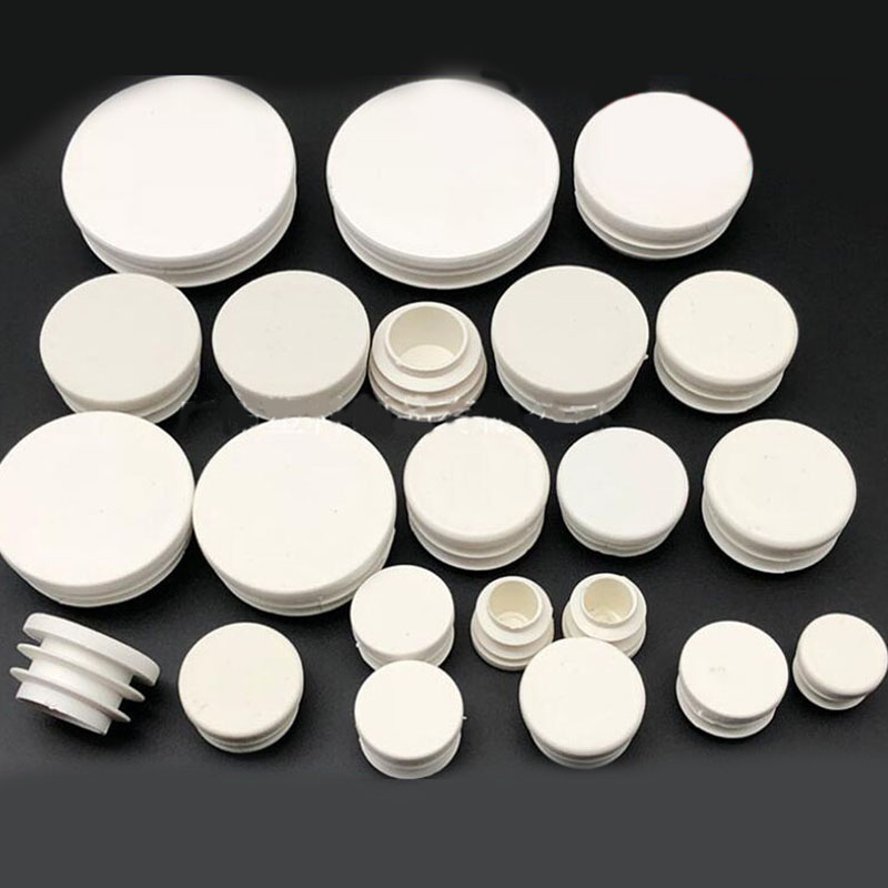 100pcs/lot White Plastic Blanking End Caps Round Pipe Tube Cap Insert Plugs Bung For Furniture Tables Chairs Protector