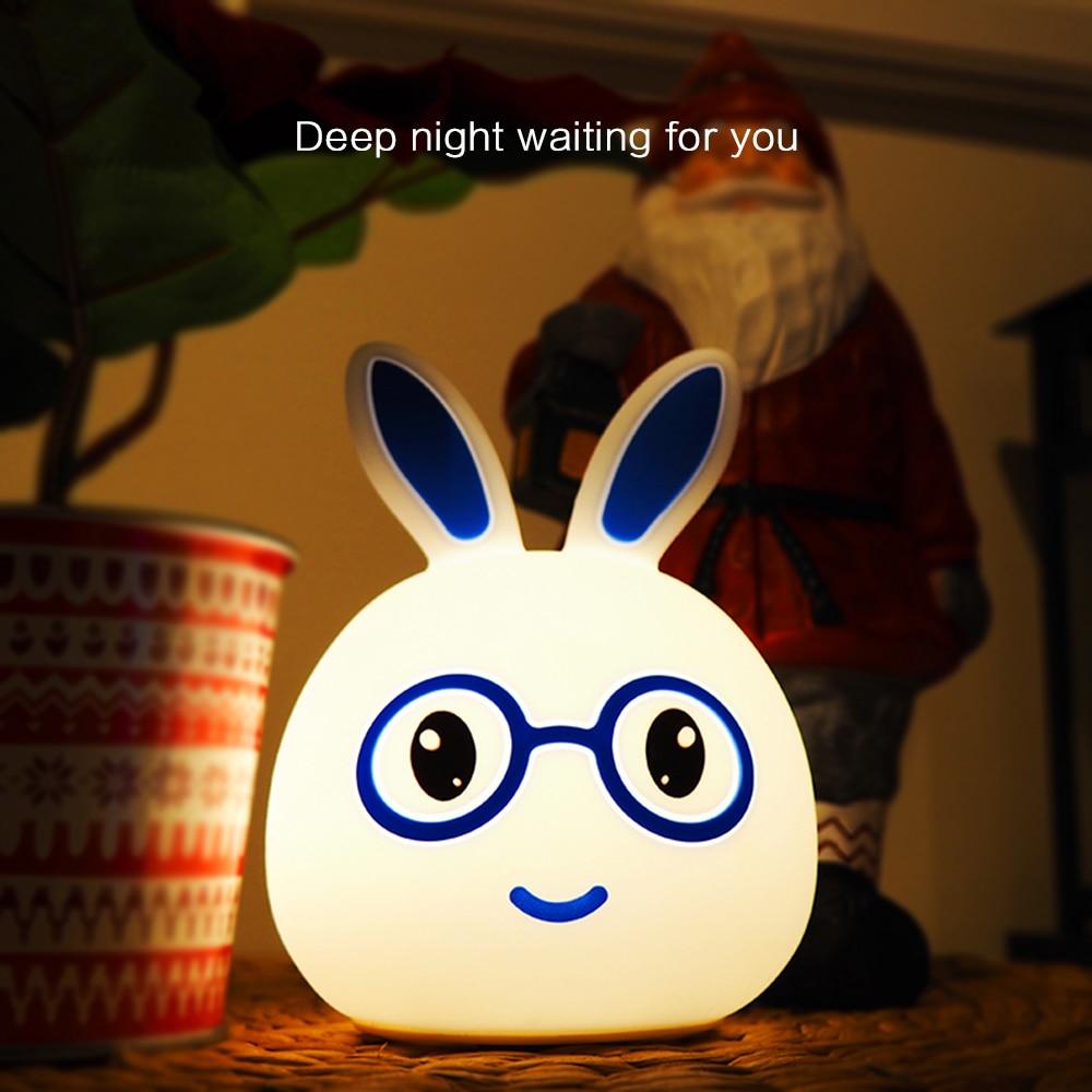 Силиконовый смарт-Кролик USB Перезаряжаемые светодиодный Ночной светильник сенсорный Сенсор 7 цветов кролик Спальня прикроватная лампа для