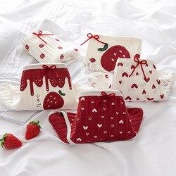 Love Strawberry Underwear Girl Underwear Cotton Crotch Mid Waist Briefs Women's Underwear Christmas Red Gift