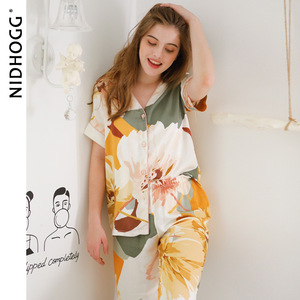 Image 5 - חדש סאטן פרחוני הדפסת פיג מה סט אופנה ארוך שרוול פיג מות נשים V צוואר Loungewear סט 2 חתיכה בגדי בית הלבשת 2020