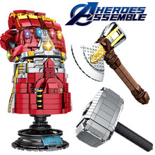 legoingly Marvel Super Heroes Avengers Iron Man Nanogloves Thanos Infinity Gauntlet Thors Hammer Weapon Quake Stormbreaker Block(China)