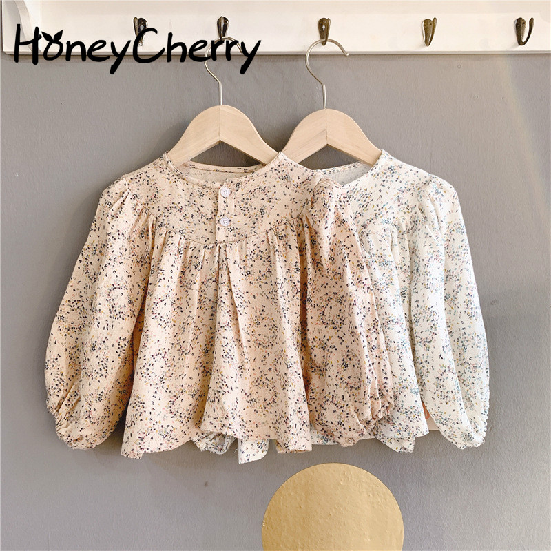 2020 Children's Little Girl Shirts Spring New Girl's Korean Floral Bubble Sleeve Shirt  Baby Girl Clothes