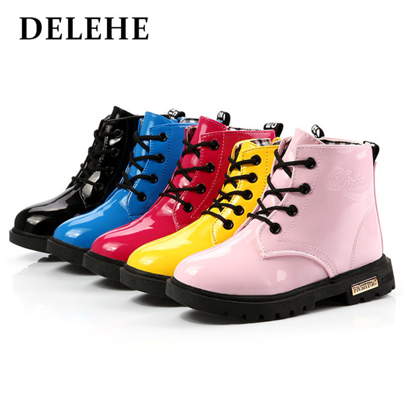 Fashion Colorful PU Children Boots Shoes Autumn Leather Toddler Kids