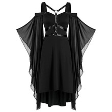 Womne Plus Size Cold Shoulder Butterflies Sleeve Lace Up Gothic Style Halloween Dress Halloween Dress Women Costume#3